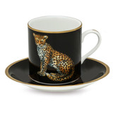 Halcyon Days Twin Leopards Coffee Cup & Saucer, MPN: BCMWL02CSG, EAN: 5060171158417