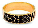 Halcyon Days 2cm Wildlfe Black Gold Hinged Bangle, MPN: HBWDL0220G, EAN: 5060171148333