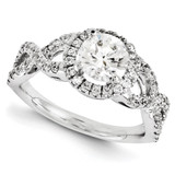 Halo Wedding Set Mounting Ring Band Prong Set Round 10k White Gold Engagement Raw Casting, MPN: 1WM297-1