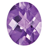 Amethyst 6X4mm Oval Checkerboard Gemstone, MPN: AM-0604-OVX-AA