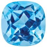 Blue Topaz 5mm Sq Cush Gemstone, MPN: BT-0500-CUF-AA