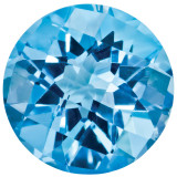 Blue Topaz 5mm Round Checkerboard Gemstone, MPN: BT-0500-RDX-AA