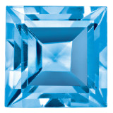 Blue Topaz 5mm Square Step Cut Gemstone, MPN: BT-0500-SQS-AA