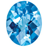 Blue Topaz 6X4mm Oval Checkerboard Gemstone, MPN: BT-0604-OVX-AA