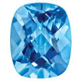 Blue Topaz 7X5mm Cushion Checkerboard Gemstone, MPN: BT-0705-CUX-AA