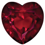 Created Ruby 4mm Heart Faceted Gemstone, MPN: CR-0400-HTF