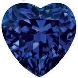 Created Sapphire Blue 4mm Heart Faceted Gemstone, MPN: CS-0400-HTF-BL