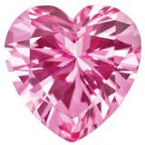 Created Sapphire Pink 4mm Heart Faceted Gemstone, MPN: CS-0400-HTF-PK