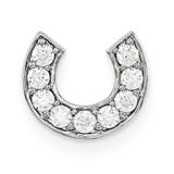 Italian Horns Good Luck Charm 14k White Gold Diamond Pendant, MPN: WM1487-1AAA