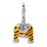 Polished Enamel Tiger Jacket Charm Sterling Silver Synthetic Diamond QCC212