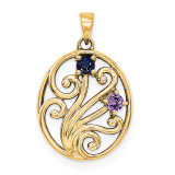 14K Yellow Gold Genuine  Family & Mother's Pendants, MPN: YM1440-2GY