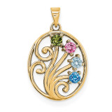 14K Yellow Gold Genuine  Family & Mother's Pendants, MPN: YM1440-4GY