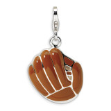 3-D Enameled Brown Baseball Mit Charm Sterling Silver QCC309