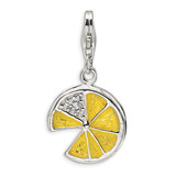 3-D Yellow Enamel Lemon Wedge Charm Sterling Silver QCC354