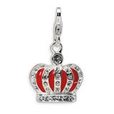 Swarovski Element & Red Enamel Crown with Lobster Charm Sterling Silver QCC441