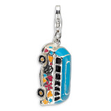 3-D Enameled Hippie Bus Charm Sterling Silver QCC492