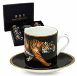 Halcyon Days MW Tiger Coffee Cup & Saucer Set x 6, MPN: BCMWT02C6G