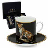 Halcyon Days MW Twin Leopards Coffee Cup & Saucer Set x 6, MPN: BCMWL02C6G