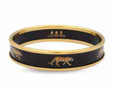 Halcyon Days 1cm MW Tiger Black Gold Medium Bangle Bracelet Hand Decorated, MPN: PBMWT0210GM