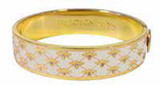 Halcyon Days 13mm Bee Sparkle Trellis Cream Gold Hinged Bangle Bracelet, MPN: HBBES0513G