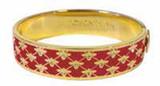 Halcyon Days 13mm Bee Sparkle Trellis Red Gold Hinged Bangle Bracelet, MPN: HBBES0613G