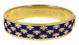 Halcyon Days 13mm Bee Sparkle Trellis Deep Cobalt Gold Hinged Bangle Bracelet, MPN: HBBES1813G