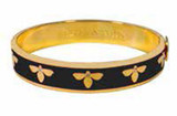 Halcyon Days 1cm Bee Black Gold Hinged Bangle Bracelet, MPN: HBBEE0210G