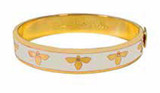 Halcyon Days 1cm Bee Cream Gold Hinged Bangle Bracelet, MPN: HBBEE0510G