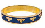 Halcyon Days 1cm Bee Deep Cobalt Gold Hinged Bangle Bracelet, MPN: HBBEE1810G