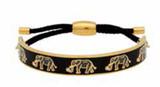 Halcyon Days Elephant Motif Black Gold Friendship Bangle Bracelet, MPN: FBELE0210G