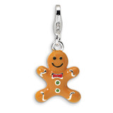 3-D Enameled Gingerbread Cookie Charm Sterling Silver QCC538