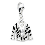 Enamel Zebra Jacket Charm Sterling Silver Click-on Synthetic Diamond QCC579