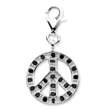 Synthetic Diamond Polished Peace Charm Sterling Silver Click-on QCC612
