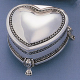 3 Inch Footed Heart Jewelry Box Silver-plated, MPN: GL931, UPC: 15227866650