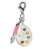 Enamel Artist Palette Charm Sterling Silver Synthetic Diamond QCC703