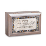 Be Happy Music Box Jeweled Woodgrain Resin, MPN: GM18593, UPC: 633303847326