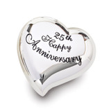 25th Anniversary Heart Keepsake Box Silver-tone Engravable, MPN: GM19113, UPC: 89945575392