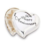 50th Anniversary Heart Keepsake Box Silver-tone, MPN: GM19115, UPC: 89945575415