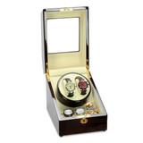 Steinhausen Heritage Cherry Finish Dual Watch Winder with Storage, MPN: GM20219, UPC: 849689026815