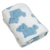 Blue Plush Blanket with Bear Print, MPN: GM20233, UPC: 737505064434