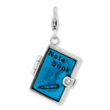 3-D Note Book Charm Sterling Silver Enameled QCC874
