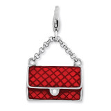 3-D Purse Charm Sterling Silver Enameled QCC882