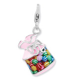 3-D Candy Jar Charm Sterling Silver Enameled QCC894