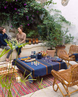 Le Jacquard Francais Wax Mania Enduit Blue Coated Tablecloth 59 X 86 Inch MPN: 24266 EAN: 3660269242664