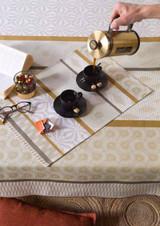 Le Jacquard Francais Wax Mania Enduit Tobacco Coated Tablecloth 69 X 126 Inch MPN: 24331 EAN: 3660269243319