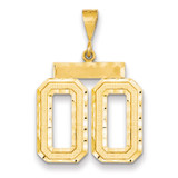 Casted Large Diamond Cut Number 00 Charm 14k Gold MPN: LN00T