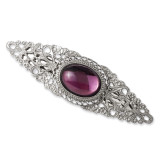1975 Boutique Jewelry Fashion Purple Cabochon Crystal Barrette Silver-tone BF1633