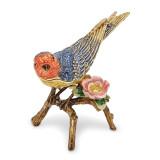 By Jere Colorful Bird Flower Trinket Box Enamel on Pewter, MPN:  BJ2108, UPC: 191101595318