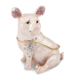 By Jere Bashful Pig Trinket Box Enamel on Pewter, MPN:  BJ2247, UPC: 191101595707