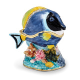 By Jere Blue Tang Fish Trinket Box Enamel on Pewter, MPN:  BJ3058, UPC: 191101595905